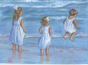 Seashore Drawings Metal Prints - Dressed In White Metal Print by Linda Nielsen