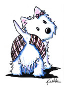 Dog Lover Drawings Posters - Dressed To Kilt Westie Poster by Kim Niles