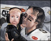 Quarterback Paintings - Drew And Baylen by Matthew Fields