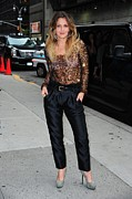 Gray Pants Framed Prints - Drew Barrymore Wearing A Richard Chai Framed Print by Everett