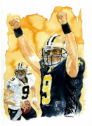 Athletes Painting Prints - Drew Brees - Champion Print by George  Brooks
