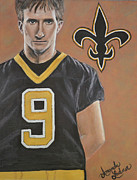 Quarterback Paintings - Drew Brees by Amanda Ladner