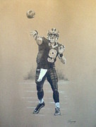 Quarterback Drawings - Drew Brees Charcoal Study by Thomas Marquez
