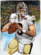 Quarterback Drawings - Drew Brees by Dave Olsen