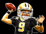 Saints Digital Art Posters - Drew Brees Poster by Stephen Younts