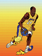 Lakers Painting Prints - Dribbling the world Print by Paul  Arm