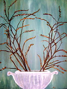 Framing Posters - Dried Branches In White Urn Poster by Melynnda Smith