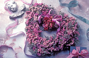 Ribbons Posters - Dried flower heart wreath Poster by Garry Gay