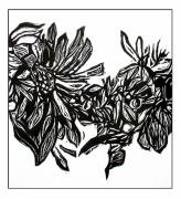 Black And White Print Reliefs - Dried Flowers by Trudi Smith