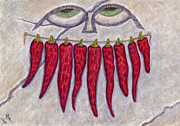 Hot Peppers Framed Prints - Dried Pepper Smile Framed Print by Melissa Rogers