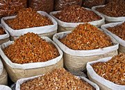 Sacks Framed Prints - Dried Shrimp at Market Framed Print by David Buffington