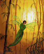 Yellow Fairy Painting Originals - Drifting Bamboo Spirit by Laura Iverson