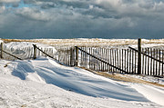 Nauset Beach Framed Prints - Drifting snow along the beach fences at Nauset Beach in Orleans  Framed Print by Matt Suess
