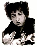 Music Legend Drawings Posters - Drifting Words    Bob Dylan Poster by Iconic Images Art Gallery David Pucciarelli