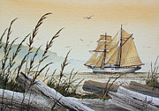 Tall Ship Painting Prints - Driftwood Bay Print by James Williamson
