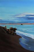 Ontario Paintings - Driftwood on Lake Huron beach by Kevin Doty