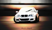 Drift Car Posters - Drifty BMW Poster by Sherry Fain