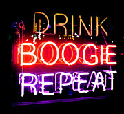 Club Scene Posters - Drink Boogie Repeat Poster by Rebecca Brittain