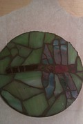 Dragonfly Glass Art - Drink Coaster Dragonfly by Helene Vachon