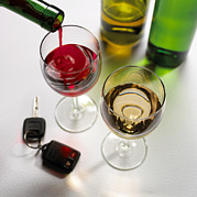 Wine Pouring Prints - Drink Driving, Conceptual Image Print by Mark Sykes
