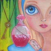 Kitsch Painting Posters - Drink Me Poster by Jaz Higgins