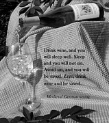 Wine Pour Digital Art Posters - Drink Wine and You Will Sleep  BW Poster by CK Knudson