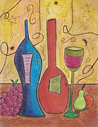 Wine Drawings - Drinking Alone by Ray Ratzlaff