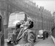 Mature Men Posters - Drinking Beer Poster by John Drysdale