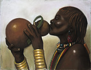 Black Art Pastels Prints - Drinking Gourd Print by L Cooper