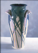 Wheel Thrown Ceramics - Drip Glazed Stoneware Wheel Thrown Vase by Carolyn Coffey Wallace