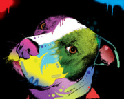 Artist Glass Posters - Dripful Pitbull Poster by Dean Russo