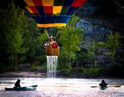 River Art - Dripping Wet  Hot Air Balloons by Bob Orsillo