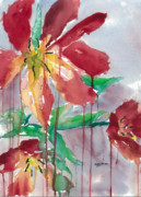 Drippy Painting Posters - Drippy Tulips Poster by Mary Lomma
