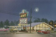 Carhop Framed Prints - Drive-in Restaurant Framed Print by C Robert Follett