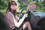 Beatles Pastels Prints - Drive My Car Print by Alice McMahon White