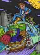 Zombies Drawings Prints - Drive through the Graveyard Print by Anthony Snyder