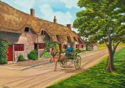 English Watercolor Paintings - Driving a Jaunting Cart by Charlotte Blanchard