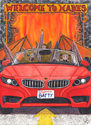 Bat Painting Framed Prints - Driving like bats out of hell Framed Print by Catherine G McElroy
