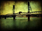 Downtown Portland Framed Prints - Driving over the Bridge Framed Print by Cathie Tyler