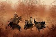 Dust Painting Framed Prints - Driving the Herd Framed Print by Corey Ford