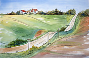 Farm Buildings Painting Originals - Driving Through Iowa by Pat Katz