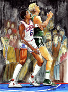Boston Celtics Drawings Posters - Dr.J vs. Larry Bird Poster by Dave Olsen