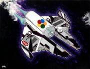 Jet Painting Originals - Drobot Space Fighter by Keith QbNyc