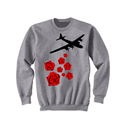 Josephboyd Tapestries - Textiles - Drop Bouquets Not Bombs Custom Painted Crewneck Sweatshirt by Joseph Boyd