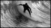 Clemente Photos - Dropping in at San Clemente Pier by Brad Scott