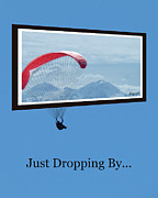 Kites Digital Art - Dropping In Hang Glider by Cindy Wright