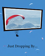 Drifting Snow Prints - Dropping In Hang Gliders Print by Cindy Wright