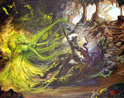 Sorcery Paintings - Drow Vs Mind Flayer by Tracy E Flynn