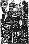 Lino Print Prints - Drowning in Metropolis Print by Darkest Artist