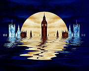 Moonlit Digital Art Prints - Drowning in Politics Print by Sharon Lisa Clarke